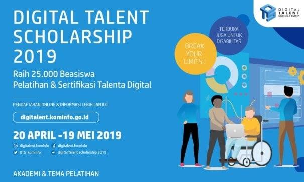 Pendaftaran Beasiswa Digital Talent Scholarship 2019 Dibuka untuk 25.000 Peserta