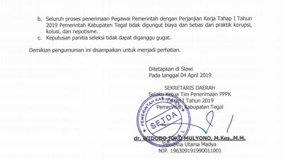 Pengumuman Hasil PPPK Kabupaten Tegal Tahap 1 2019