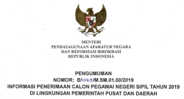 Pengumuman Menpan Penerimaan CPNS 2019
