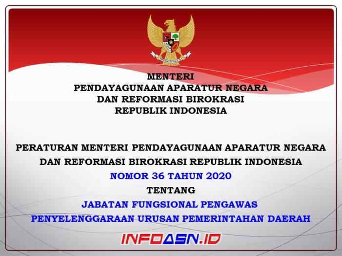 PermenPANRB Nomor 36 Tahun 2020-Jabatan Fungsional Pengawas Penyelenggaraan Urusan Pemerintahan Daerah (P2UPD)