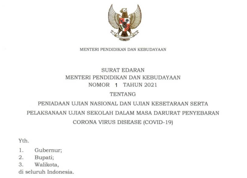 Surat Edaran Mendikbud Nomor 1 Tahun 2021